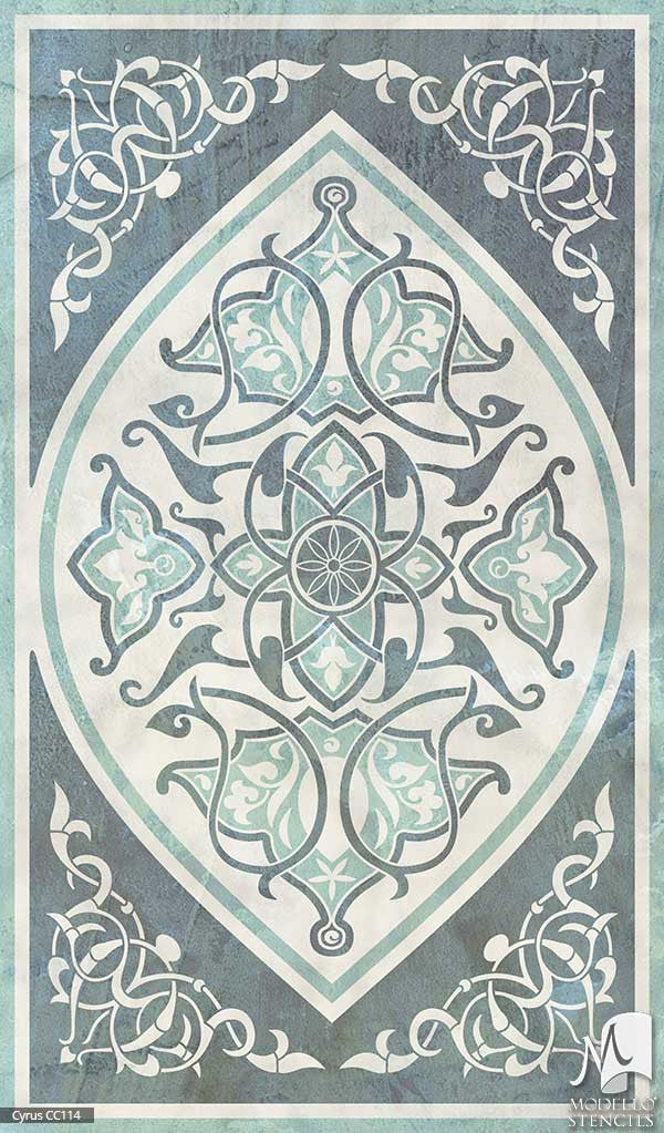 Large Designer Stencils for Painting Colorful Patterns on Concrete Floor Carpets - Modello Custom Stencils