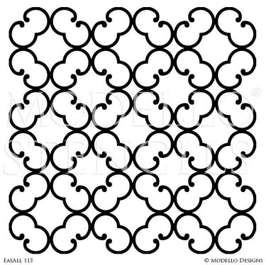 Modern Circle Lattice Stencils for Stenciled and Painted Ceiling Wall Designs