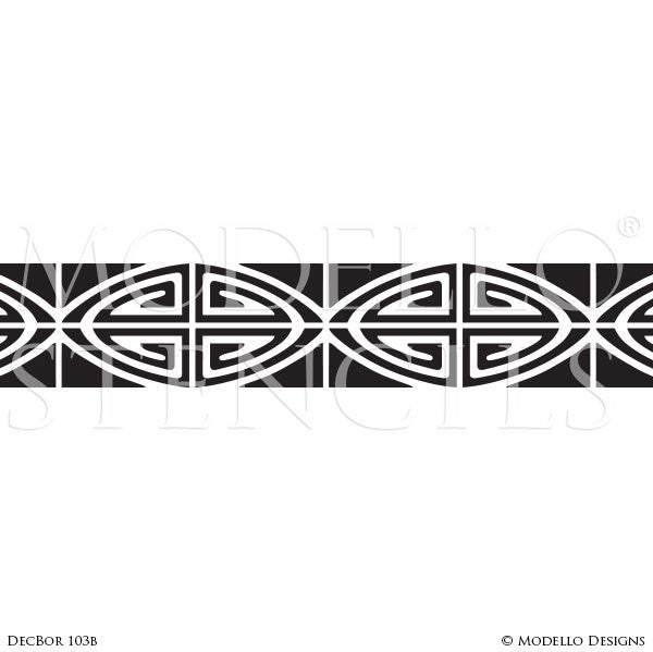 Art Deco Art Nouveau Retro Vintage Design Geometric Pattern - Large Wall Border Stencils - Modello Custom Stenciling