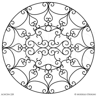 Custom Home Decor and Painted Ceiling Medallion Designs and Modello Stencils