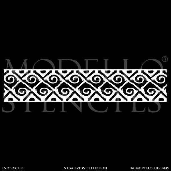 Tribal African Southwest Navajo Pattern - Border Designs - Geometric Custom Stencils for Decorating