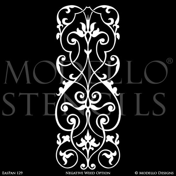 Long Panel Shape Painted on Furniture, Archways, Glass Windows - Moroccan Asian Indian Designs - Modello Custom Furniture Panel Stencils