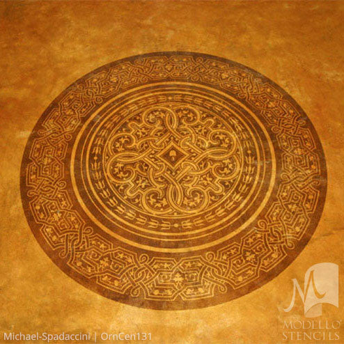 Global Chic Grand Ceiling Stencils with Ceiling Medallions Patterns - Modello Custom Stencils Designs with Exotic Home Decor