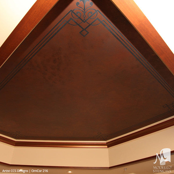 Ceiling Corners Painted with Adhesive Stencils - Modello Designs
