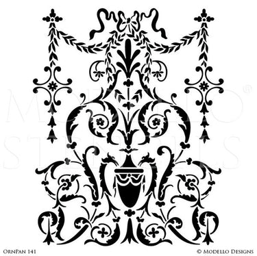 European and Old World Home Decor - Custom Furniture Cabinet Panel Stencils for Painting