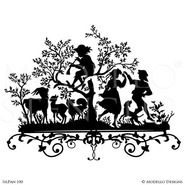 Folk Art with Nature People Animals - Painted Wall Art Graphics for Classic Wall  sc 1 st  Modello® Designs & Painted Large Wall Art Graphics Stencils - Custom Modello Stencils ...