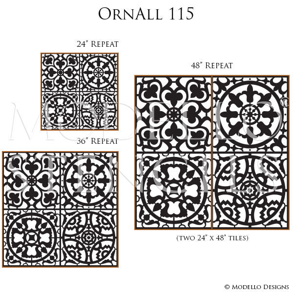 Wall Mural Stencils with Tile Pattern for Backsplash, Floor, or Walls - Modello Stencils
