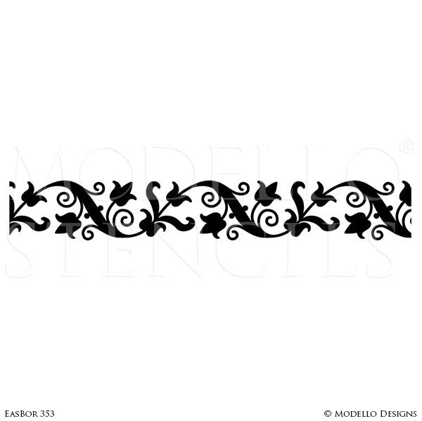 Oriental Flower Vines Leaves Border Stencils for Painting Decorative Wall Finish - Modello Designs