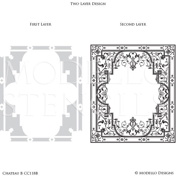 Classic and Ornate Stencil Designs for Floor Painting and Stenciling Ceiling Decor - Modello Custom Stencils