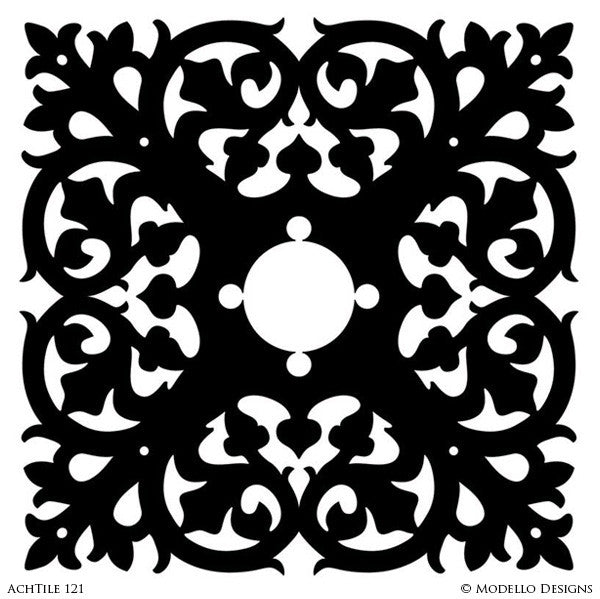 Large Tile Designs for Painted Decor Projects - Modello Custom Stencils