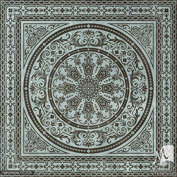 Old World and European Design and Decor - Large Tile Floor Carpet Stencils - Modello Custom Stencils