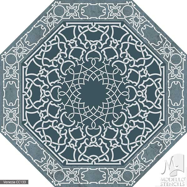 Custom Painted Carpet Floors and Classic Ceiling Stencils - Modello Custom Cut Vinyl Stencils