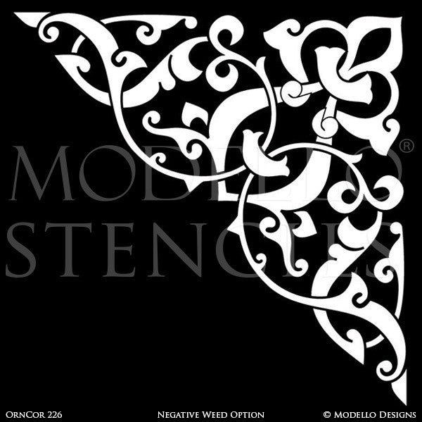 Stenciling and Painting Ceilings and Wall Designs with Corner Designs - Modello Custom Vinyl Stencils