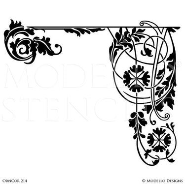 Leaves Vines Designs on Custom Painted Wall Corner Murals - Modello Custom Adhesive Vinyl Stencils
