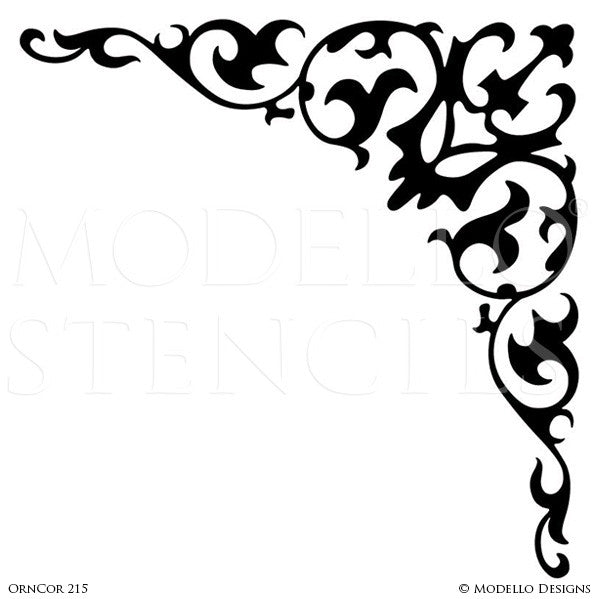 Elegant Grand Ceiling Design Painted with Corner Stencils - Modello Custom Stencils
