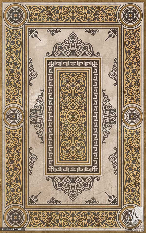 Spanish Classic Home Decor and Large Faux Carpet Floor Stencils - Modello Custom Stencils