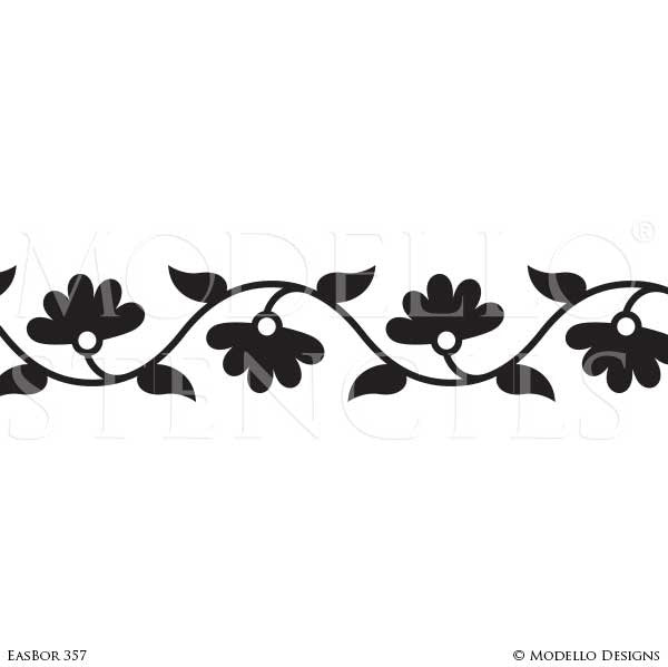 Asian Flower Border Stencils for Painting Decorative Wall Finish - Modello Designs