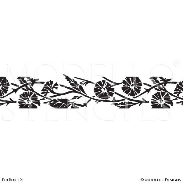 Decorative Border Stencils for Stenciling Ceiling or Wall Designs - Modello Custom Stencils for Traditional Decor