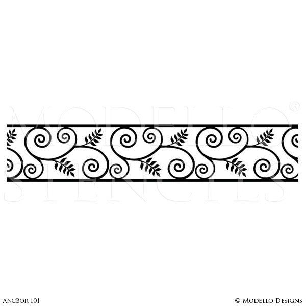 Classic Leaves Vines Border Stencils for Ceiling Decor or Wall Mural - Modello Stencils
