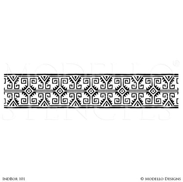 Tribal African Pattern - Painted Wall Mural Border Designs - Large Custom Stencils for Decorating