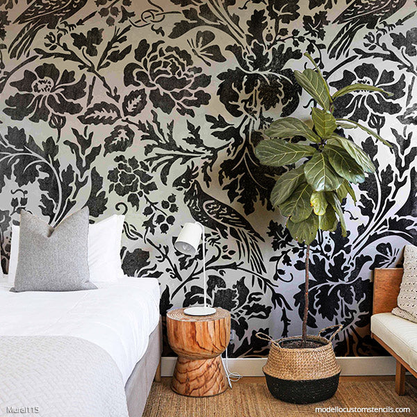 Large Stencil for Painting DIY Mural Floral Wall Art Bedroom Feature Wall Stencils - Modello Custom Stencils - modellocustomstencils.com