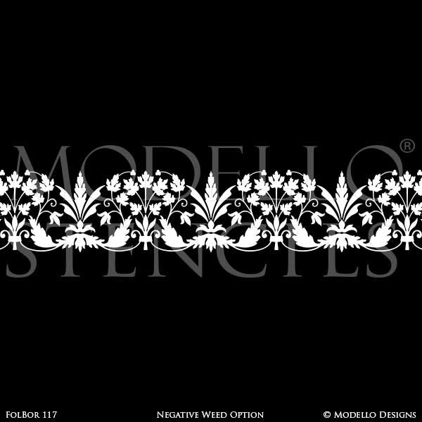 Floral Nature Painted Ceiling Borders Stencils for Designer Decor - Modello Custom Stencils