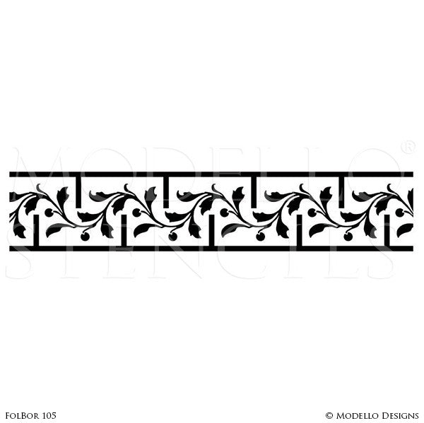 Custom Border Stencils For Painting Ceiling Designs Wall Borders