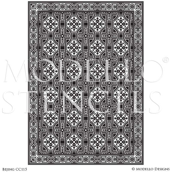 Asian Inspired Home Decor and Large Faux Rug Carpet Floor Stencils - Modello Custom Stencils