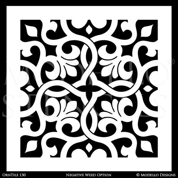 Stenciling and Painting Furniture with Ornamental Tile Designs - Modello Custom Vinyl Stencils