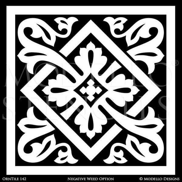 Large Ornamental Tile Stencils for Painting Floor Carpets and Ceilings - Modello Custom Stencils