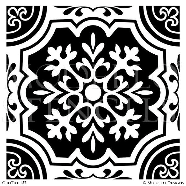 Trendy Tile Designs Painted on Ceilings and Floors - Modello Custom Tile Stencils
