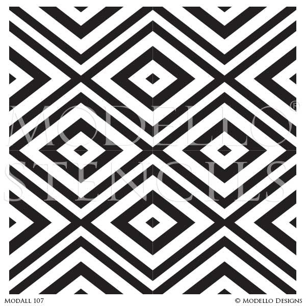 Geometric African and Tribal Pattern for Painted Accent Walls - Modello Wall Stencils