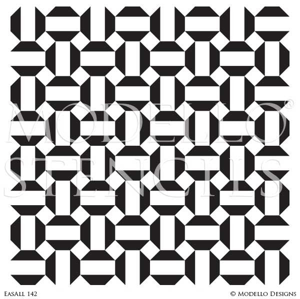 Geometric Pattern Stenciled on Custom Wall Decor - Moroccan, Asian, Tribal Wallpaper Wall Stencils - Modello Designs