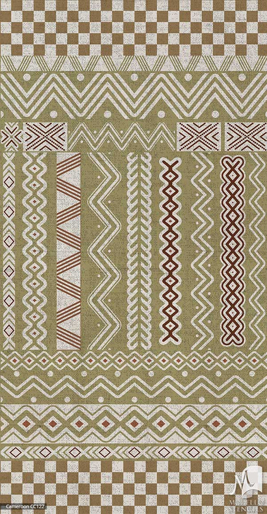 African Tribal Interior Decor - Modello Custom Carpet Floor Panel Stencils