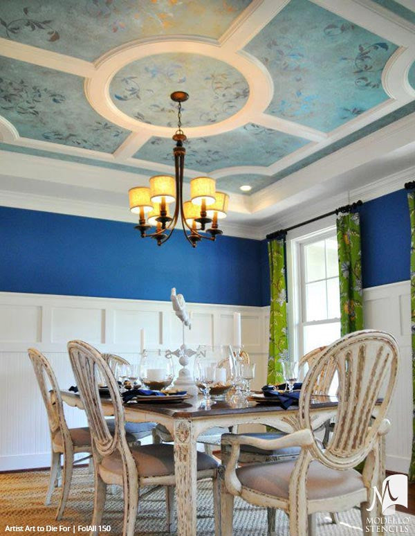 Painted Ceiling Stencils with Leaves and Vines - Modello Designs