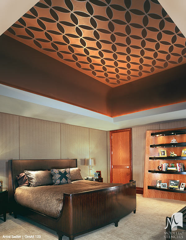 Large Painted Ceiling Stencils with Modern Pattern - Modello Designs