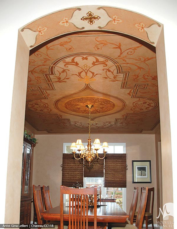 Dining Room Ceiling Stencils - Painting Classic Patterns with Panel Stencils