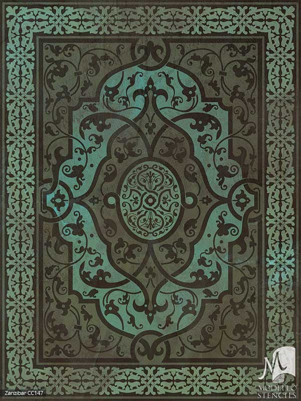 Indian, Asian, and Moroccan Decor and Bohomian Interiors - Modello Custom Floor Carpet Panel Stencils