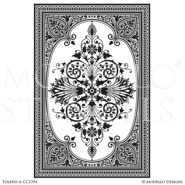 Charming European Designs #10: Spanish European Designs - Floor Carpet Panel Stencils - Modello Custom  Painted Stencils