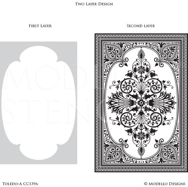 Decorative Floor Carpet Stencils for Painting European Designs - Modello Custom Stencils