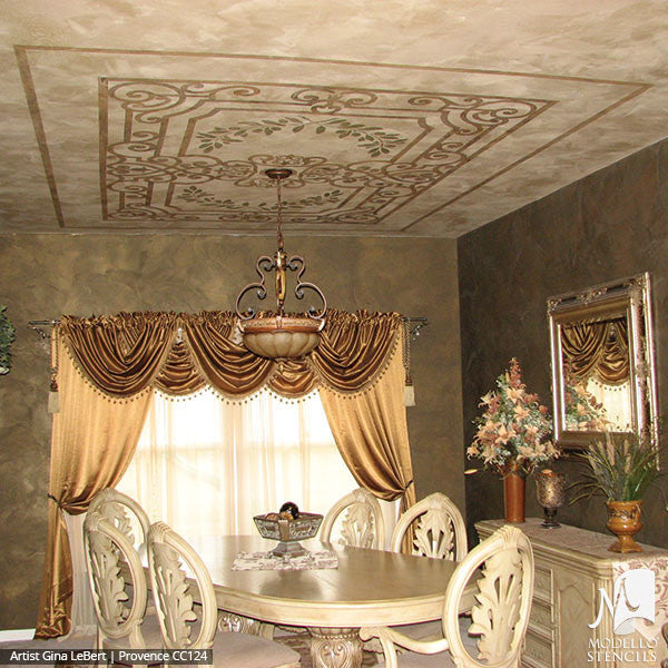 Grand Painted Ceiling Panel Stencils for Custom Decorating - Modello Custom Stencils