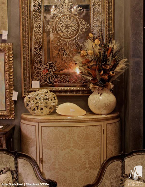 Traditional Antique Mirrors with Custom Painted Designs - Modello Panel Stencils