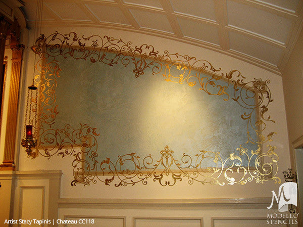 Traditional Wall Art Designs with Large Panel Stencils - Modello Custom Stencils