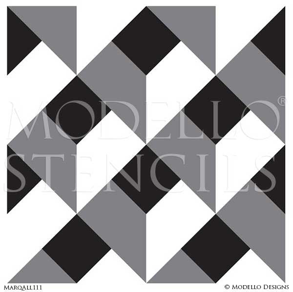 Geometric Floor Patterns Stained Wood Modello Marquetry Stencils