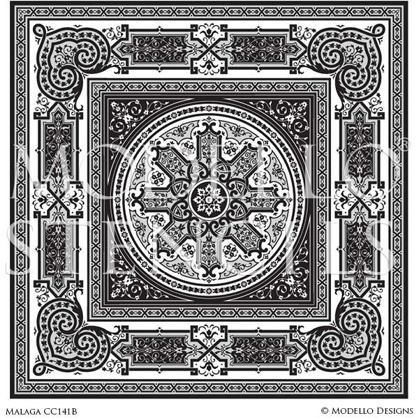 Painting Ceiling Designs and Faux Floor Carpets with Custom Classic Ornate Pattern Stencils
