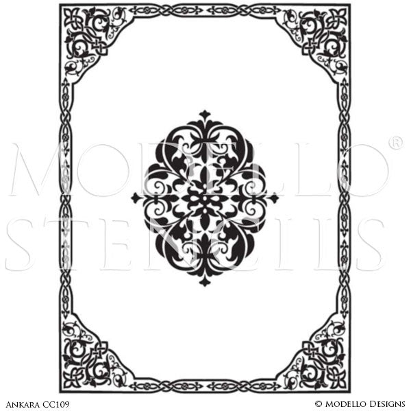 Large Ornamental Panel Stencils for Painting Decorative Floors and Ceilings - Modello Custom Stencils