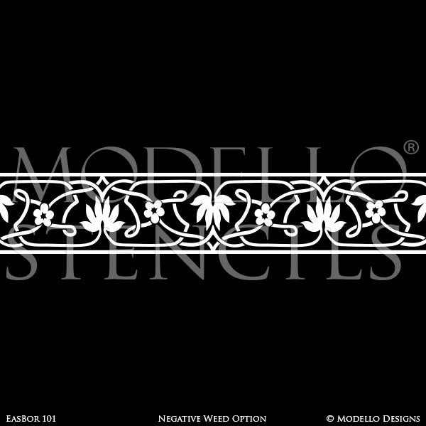 Global Chic Grand Ceiling Stencils with Ceiling Borders Patterns - Modello Custom Stencils Designs with Exotic Home Decor