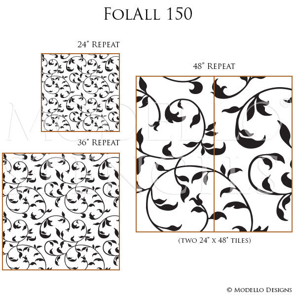 Professional Painting with Leaves Vines Allover Wall Stencils for Decorating - Modello Designs