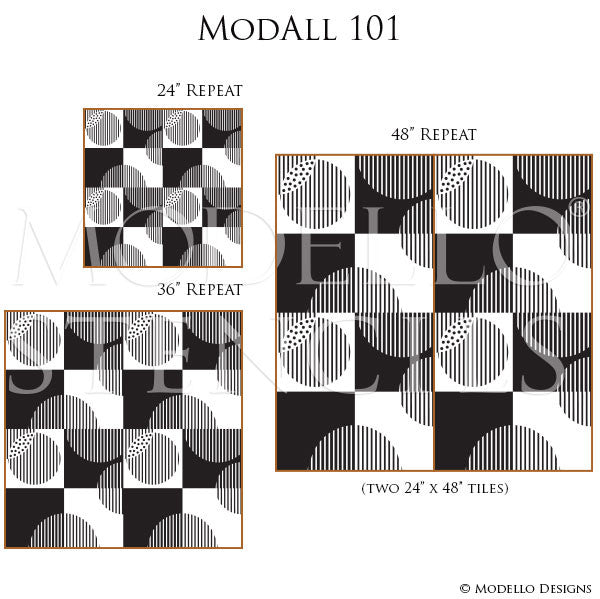 Modern Geometric Patterns Painted on Wall or Floor - Modello Custom Stencils