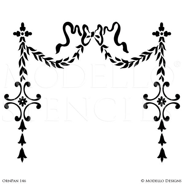 Decorative Wall Hanging and Vines to Outline Designs - Modello Custom Wall Art Stencils